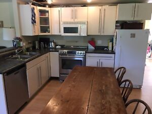 Kitchen cabinets, sink, faucet, microwave, counter