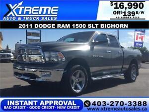 2011 Dodge Ram 1500 SLT Bighorn **INSTANT APPROVAL** $139/BW!