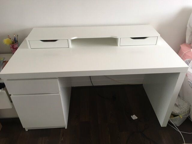 ikea white malm desk and alex add on unit in stepps glasgow gumtree. Black Bedroom Furniture Sets. Home Design Ideas