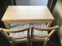 Extendable kitchen table and 2 chairs