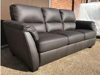 Brand New Trieste 3 Seater Leather Sofa - Chocolate