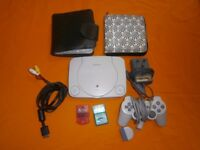 Playstation one (slim) upgraded 1 pad 2 memory cards and extras