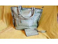 Green moc-croc handbag
