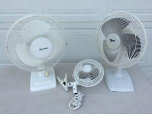 3 White Oscillating Fans