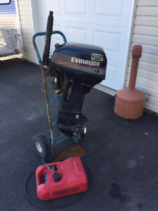 2002 EVENRUDE 15 HP OUTBOARD , TANK AND FUEL LINE