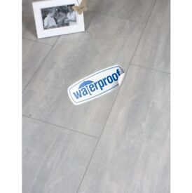 Egged Aqua+ Light Grey Tile Laminate Flooring