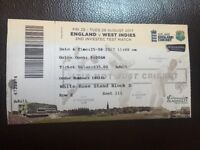 England vs West Indies cricket ticket x1 25/8/17