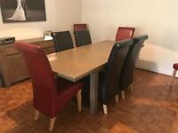 Immaculate grey oak extending dining table, seat up to 8, with 8 leather chairs
