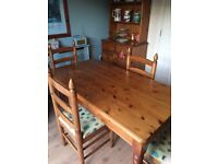 Pine Table and Chairs with matching dresser