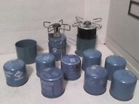 2 Camping Gas Primer Stove Cookers 18 Blue Cartridges - Heathrow