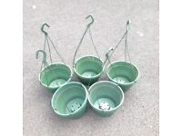 5 Green Plastic Hanging Baskets