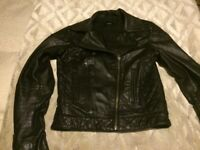 Black leather biker jacket size 6/8