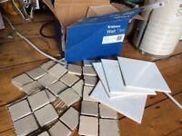 Bathroom Tiles | White 15X15cm | Beige Mosaic 5X5cm | FREE