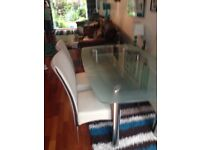 Harvey's boat table and 6 cream chairs