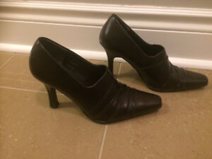 Dark Brown/espresso high heeled leather shoes for sale