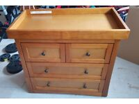 Great Condition Oak Effect 3 Piece Nursery Furniture Set- Cot Bed, Changing Unit and Wardrobe