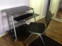 COMPUTER/STUDY DESK & Chair - Black Glass & Chrome with slide out keyboard shelf.