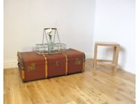 Vintage Bentwood Steamer Trunk / Storage Chest / Coffee Table