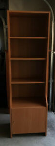 Beech-coloured Ikea bookcase with base cupboard