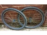 Pair of 26 x 2.10 mountain bike wheels quick release 8 speed