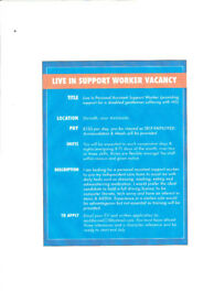 Support Worker Job Vacancy