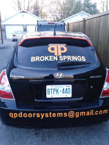 Broken garage door springs replaced $89. Parts and labour incl