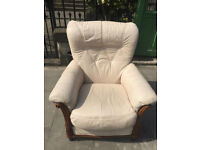 Leather Armchair , in leather with nice wooden frame. feel free to view free local delivery...