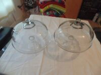 TWO GLASS LARGE CAKE STANDS these stands weigh 4.2 kg each very heavy