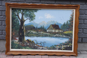 Vintage signed oil painting canvas with wood frame