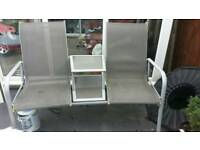 garden double seats chairs with table