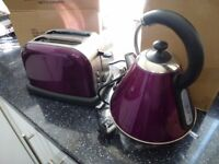 NEW EGL PYRAMID KETTLE & MATCHING TOASTER SET---PURPLE --ALL BOXED
