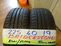 MATCHING PAIR 225 40 19 BRIDGESTONE RUNFLATS 7-8mm TREAD £90 PAIR SUP & fitd 7dys (punct £8)