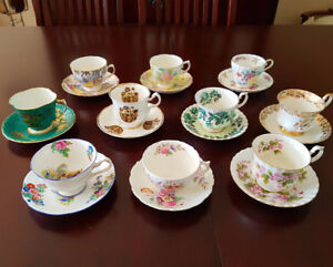 10 Antique tea cups and saucers