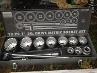 "Draper 1"" drive socket set"