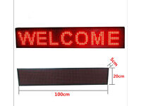 Programmable 100x20cm P10 LED Display Panel, Scrolling Message Text Sign, Indoor & Outdoor Use