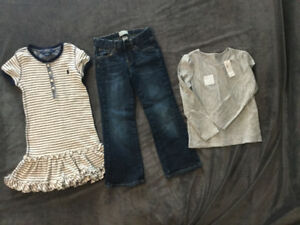 Small lot of girl's size 5 clothes---some with tags