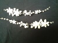 Two matching hair decorations in silver with crystals and pearls