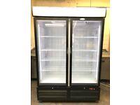Tefcold commercial double glass doors freezer for frozen foods or veg