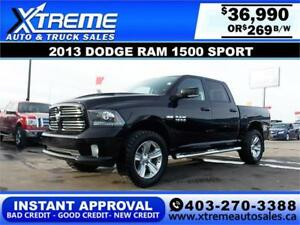 2013 DODGE RAM SPORT CREW *INSTANT APPROVAL* $0 DOWN $269/BW