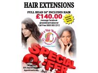 Full Head Hair Extensions Holiday Special for £140.00 includes hair