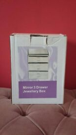 New- Mirror 3 drawer Jewellery Box- Glass.