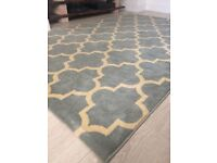 Duck Egg Blue and Cream Rug - 220cm x 150cm