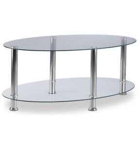 Glass/chrome coffee table and 2 end tables