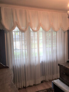 GEORGETTE WHITE CURTAINS WITH DEEP VALANCE