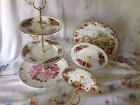 Vintage china cake stands, Roses, shabby chic, tea, wedding