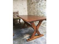 Heavy farmhouse type extending table