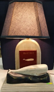 Hand Carved Moby Dick Table Lamp (Stratford Artist)