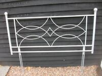 MODERN SILVER METAL BED HEADBOARD AS NEW 54 INCHES WIDE ADJUSTABLE LEGS