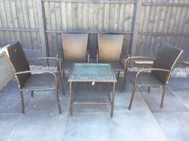 Rattan Garden Outdoor Furniture Set - Dark Brown - 4x Chairs, 1x Square Table