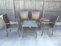 Rattan Garden Outdoor Furniture Set - Dark Brown - 4x Chairs, 1x Square Table